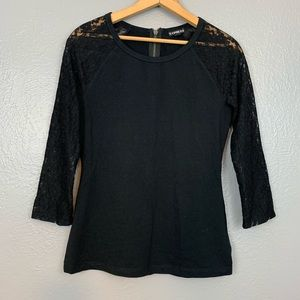 Express Lace Sleeve Black Long Sleeve Top